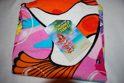 Kids Beach Towel RED WHITE CLOWN FISH Hooded Pullover 100% COTTON 24in. x 48in.