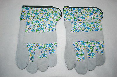 Womens Gardening Yard Gloves 2 PAIR LOT Canvas & Leather BLUE FLORAL Heavy Duty
