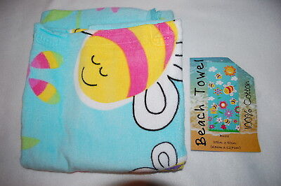 Kids Beach Towel BUMBLE BEES FLOWERS CLOUDS SUN Aqua Turquoise 25in. x 50in.