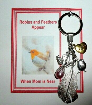 Robins Appear when Mum is Near Feathers Appear Remembrance Memorial +Gift Card