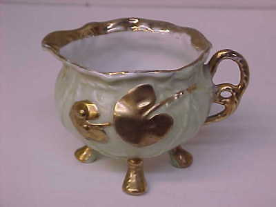 Vintage Light Green & Gold Footed Porcelain China Creamer Free Shipping