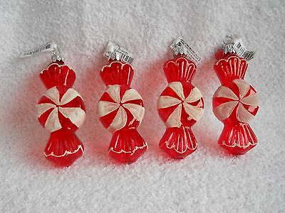 Dept 56 Peppermint Candy Cane Glass Ornaments Set of 4 New