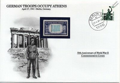 WWII 1941 German Army Troops Occupy Athens Stamp Cover (Germany/Danbury Mint)