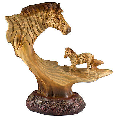 Zebra Faux Carved Wood Look Figurine Resin 6.25 Inch High New In Box!