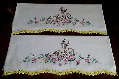 Lovely Vintage Hand Embroidered Deer Floral Design Hand Crocheted Lace