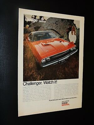 Vintage 1970 Dodge Challenger print ad **FREE SHIPPING**
