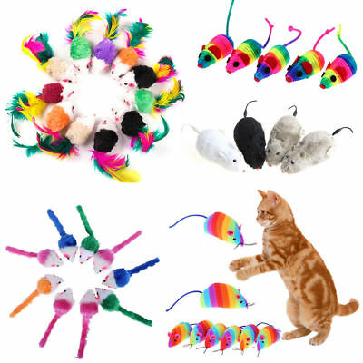 5Pcs/10Pcs Colorful Fur False Mouse Pet Kitten Cat Toy Funny Playing Mouse Toys