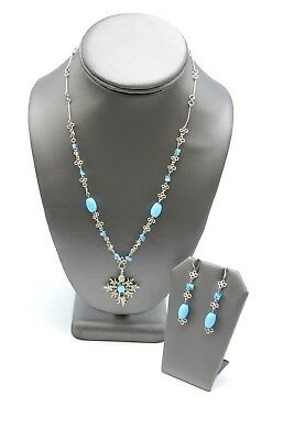 925 Silver Blue Glass Openwork Wire Necklace And Dangle Earrings Set MN1480