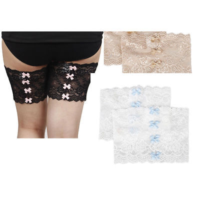 UK New Non-Slip Lace Elastic Sock Bowknot Thigh Bands Prevent Thigh Chafing Sock