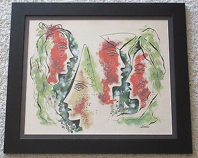 Vintage Mid Century Cubism Surrealism Modernist Art Abstract Painting Signed