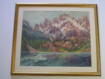 Ralph Little Painting Signed American Landscape Impressionist Vintage 1950's