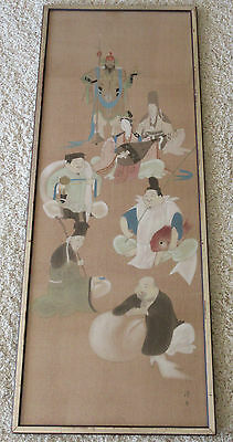 Signed Vintage Fine Chinese Japanese Figures Scholar Warrior Asian Painting 46""