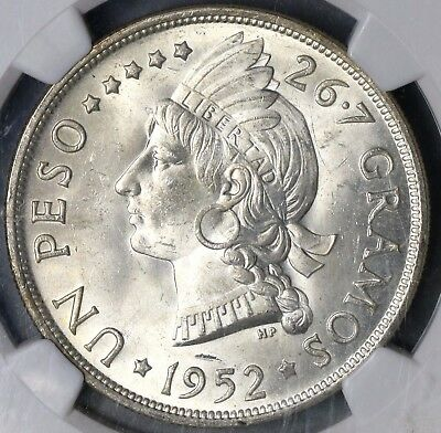 1952 NGC MS 63 Dominican Republic Silver Peso 20K Minted Flashy Coin (16062602D)