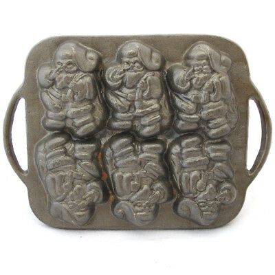 Vintage Cast Iron Santa Claus Christmas Cookie Cake Muffin Mold Six Cups Handles