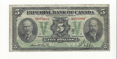 **1923**Imperial Bank of Canada $5 Note Ch#375-18-04 SN#U665660
