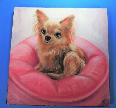 """ORIGINAL painting LONG HAIRED CHIHUAHUA DOG 12"""" square"""