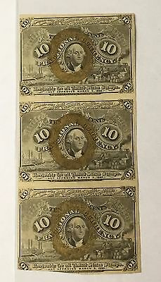1863 10C Fractional Currency Fr-1246 Sheet Of (3)