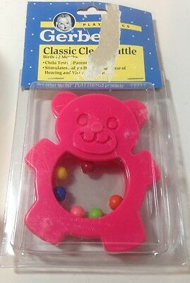 Vintage Baby Toy Gerber Classic Clear Teddy Bear Rattle 1991 New In Package