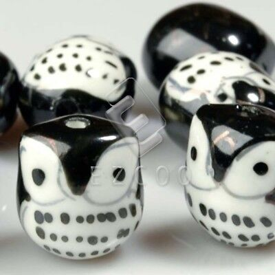 10pcs Porcelain Owl Beads Spacer charm 17x15mm Fit Necklace Black PB0007 HCPB7