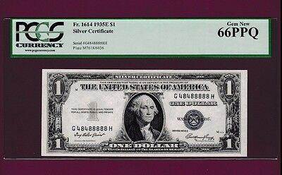 Fr.1614  $1  1935 E  SILVER CERTIFICATE NOTE TWO DIGITS SN G 48488888 H PCGS 66