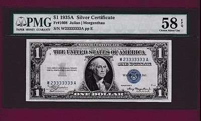 Fr.1608  $1  1935 A  SILVER CERTIFICATE NOTE TWO DIGIT LUCKY SN W 23333333 A PMG