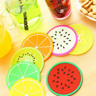 7PCS Silicone Fruit Coaster Silicone Tea Cup Drink Holder Mat Placemat Pad