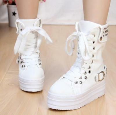 Women Punk Goth Creeper Platform Mid Calf Boots Lace Up Sneaker Casal Shoes Chic