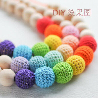 DIY 5X Crochet Round Wood bead cotton knitted bead Bracelet Necklaces Decoration