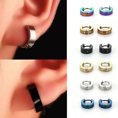 Huggie Hoop Jewellery Round Ear Snap Earrings Mens Unisex Silver Gold Thick