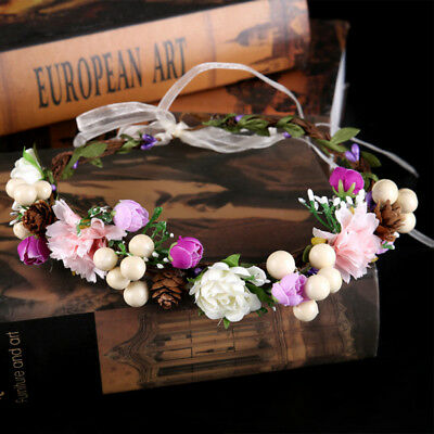 Fashion Women Wedding Flower Hair Garland Crown Headband Floral Wreath Handmade