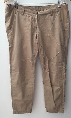 Ladies Tan Cropped Chino Maternity Trousers Size 10 Mothercare<NH9239
