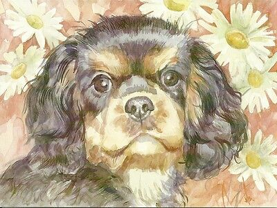 Daisy a Black and Tan  Cavalier King Charles Spaniel Puppy blank note card