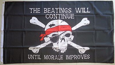 Pirates Flag The Beatings Will Continue Large Flag   AUSPOST REGISTERED TRACKING