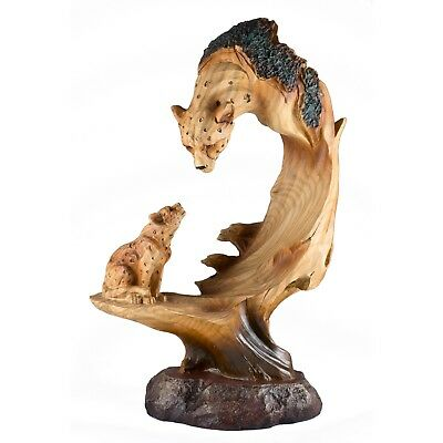 Leopard Faux Carved Wood Look Figurine 9.25 Inch High Resin New In Box!
