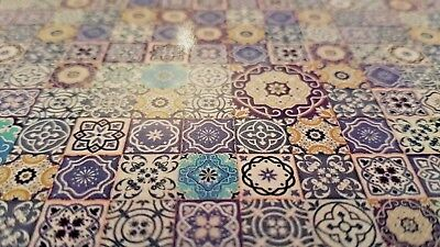 Sheet of Moroccan tiles 1:12th scale dolls house sink kitchen bathroom AMAZING