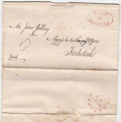 # 1833 Red Oval Paid At Halifax Pmk Letter Henry Greenwood>Rochdale Canal Office