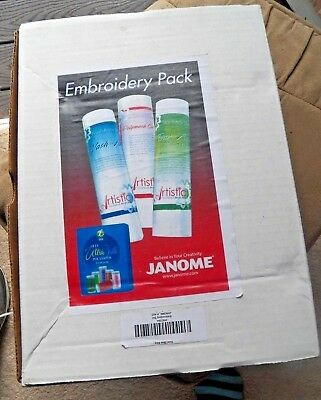 NEW Janome Embroidery Machine Thread and 3 Stabilizer Kit IOB