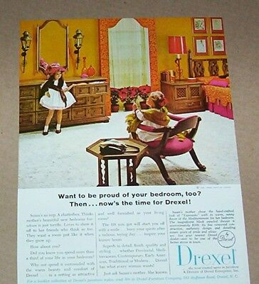 1966 print ad -Drexel NC family home furniture Cute little girls dressed-up PAGE