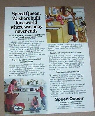 1981 print ad - Speed Queen washer little girl boy mother family laundry advert