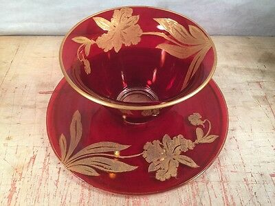 Vintage Murano? Ruby Red Glass Gold Overlay Bowl Ice Champagne Bucket Art Deco