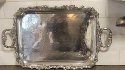 Beautiful Large Antique Silver Plated Two Handled Rococo  Tray