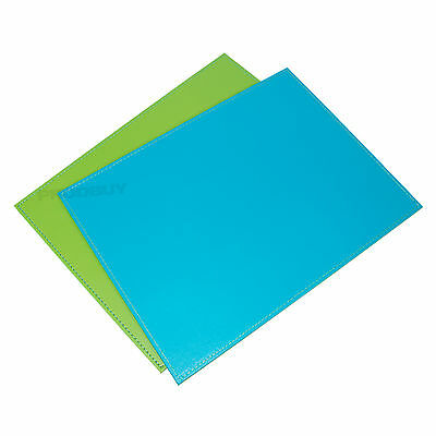 Large Reversible Flip Placemats Turquoise Lime Green Faux Leather Table Mats Set