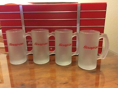 ~~Snap-On Frosted Glass Beer Mugs~~Nib~~Awesome For Your Tool Man~~