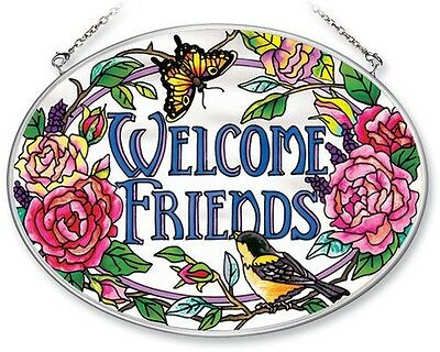 "Amia Stained Glass Suncatcher 5.5"" X 7"" Oval Welcome Friends Flowers Birds #6239"