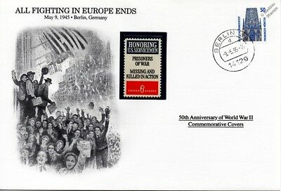 WWII 1945 All Fighting In Europe Ends USA Germany Stamp Cover Danbury Mint