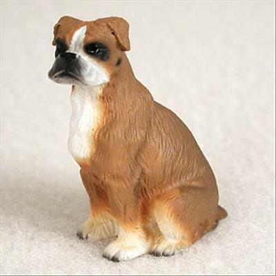 Boxer Uncropped Ears Dog Tiny One Miniature Small Hand Painted Figurine