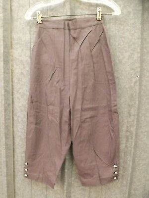 Pedal Pushers Vtg 1950s Grey Cotton Summer Capris Pants Junior Womens 24 Waist