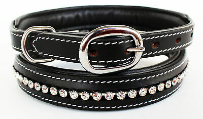 Rhinestone Dog Puppy Collar Crystal Western Cow Leather  6025