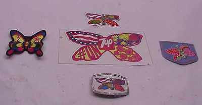 5 Vintage Seagrams 7 & 7 Up Butterfly Belt Buckle Patches And Stickers Peter Max