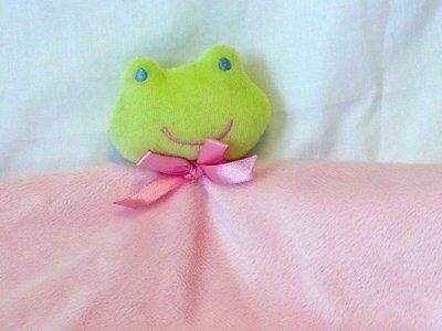 Baby essentials Pink Frog Lovey Blanket Rattle Security